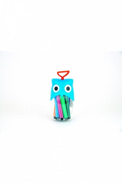 Baykuşlu Jumbo Keçeli Kalem ---12 Adet Farklı Renk