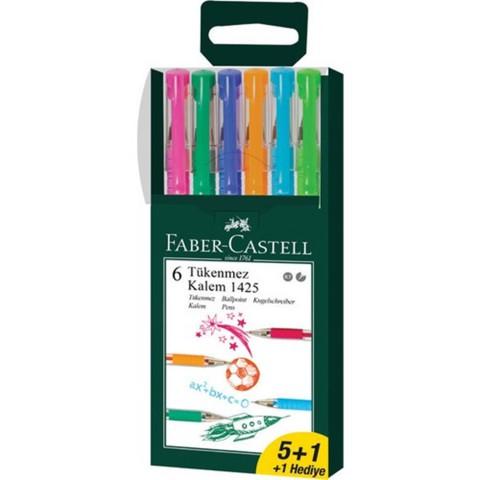 Faber Castell 1425 İğne Uçlu 0.7 mm Tükenmez Kalem Seti 5+1