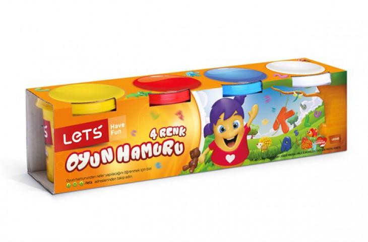 Lets Oyun Hamuru 4 Renk Normal Renkler L8340