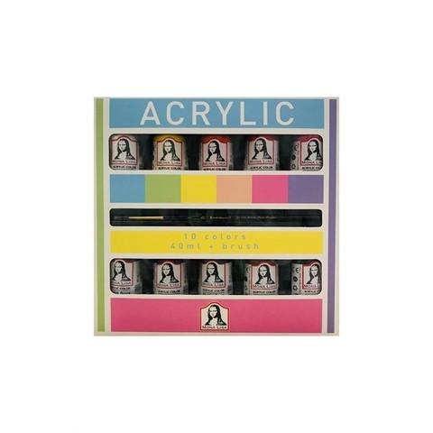 Monalisa Akrilik 10 Renk X 40 Ml + Fırça Hediyeli  Set