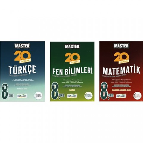 Okyanus Yayınları 8. Sınıf Master Türkçe -Matematik -Fen Bilimleri 20 Deneme 3 Set
